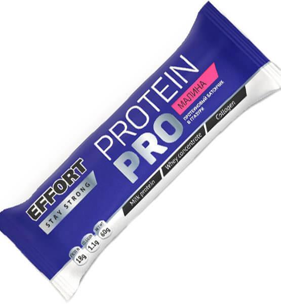 Мюсли прессованные. Батончик Effort protein PRO малина